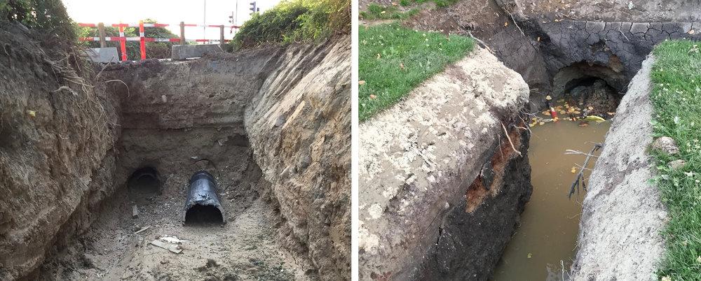 Under Sortemosevej og under Kongevejen er der nu boret foringsrør for de kommende fjernvarmerør. Foto: AOB