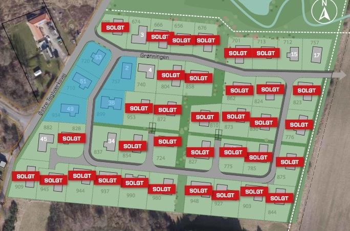 HusCompagniets hjemmeside viser status for solgte villagrunde på udstykningen 'Grønningen'.