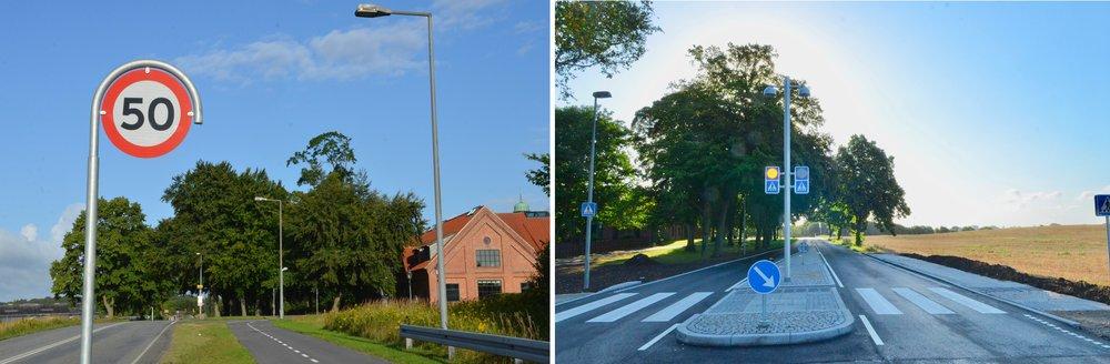 Hastigheden på hele Sortemosevej er nu nedsat til 50 km/t.Overgangen til det nye bus-stoppested er udført med en belyst midterhelle og med markerede færdselstavler.Foto: AOB