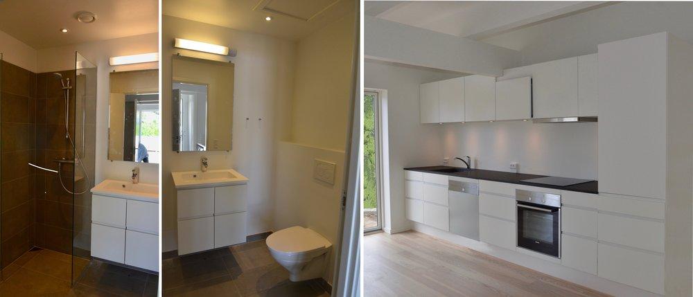 Badeværelset har væghængt toilet og bruseniche med grå fliser. Køkkenet er et Svane 'Unik hvid'. De hårde hvidevarer er fra Siemens. Foto:AOB