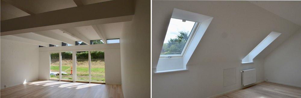 Lejlighederne indeholder en pæn stor stue med gulv-til-loft vinduer. Gulvene er ask plank hvid mat lak. Alle 1.-sals-værelserne har pæn dagslystilgang. Foto: AOB