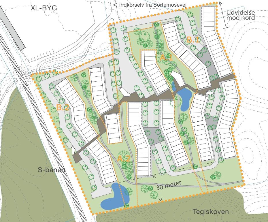 Situationsplan, som viser den ændrede plandisponering. Den udlagte bufferzone på 30 meter imellem skoven og bebyggelsen vil blive benyttet til vej, stier og regnvandsbassiner. Illustration: Allerød Kommune,tekster:AOB