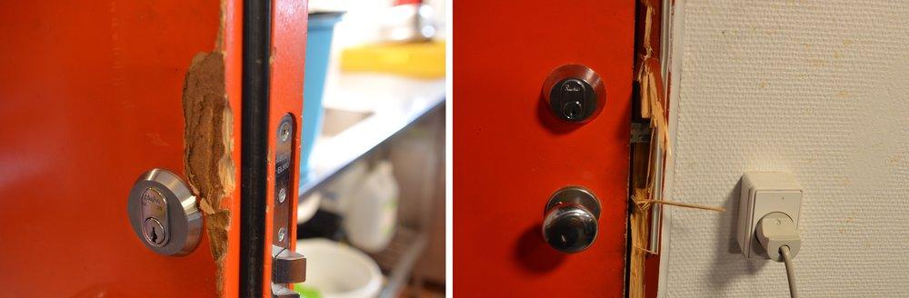 Døre og karme er ødelagte, og alt tyder på, at man har benyttet et koben for at komme igennem de 3 døre. Foto: AOB