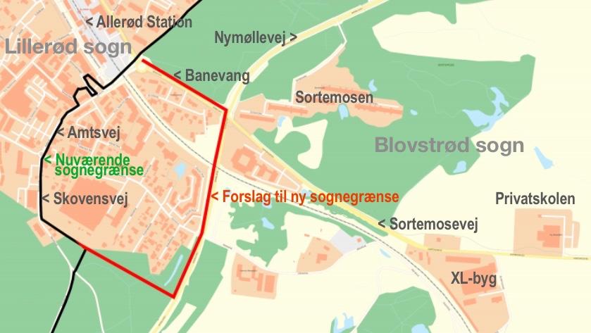 Kortet viser med sort den nuværende sognegrænse mod Lillerød sogn, og den røde markering viser forslaget til den nye sognegrænse. Tekster: AOB