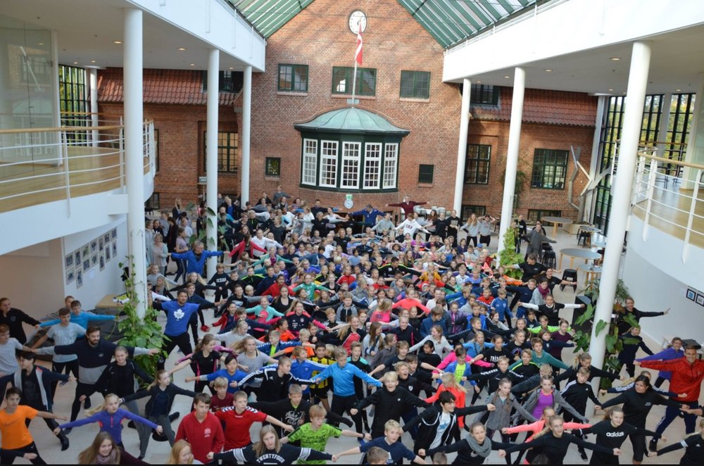 Allerød Privatskole deltog fredag formiddag i 'Skolernes motionsdag'. Foto: Allerød Privatskole