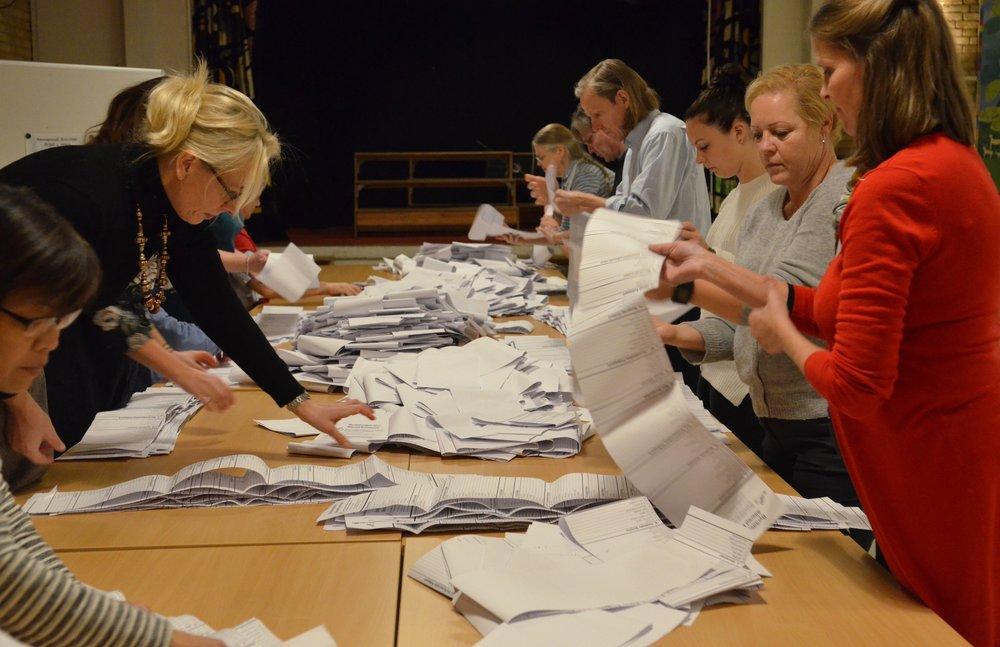 Optællingen af stemmerne i hele Allerød Kommune foreligger nu. Foto: AOB