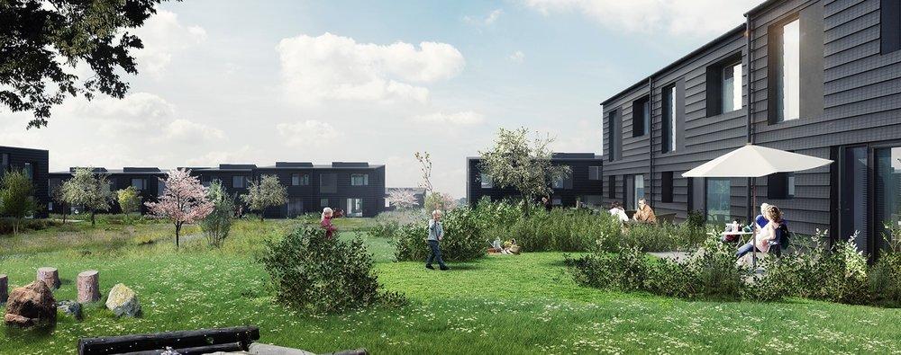 78 svanemærkede et- og to-plans rækkehuse ved Drabæk Huse.Illustration: Bonava