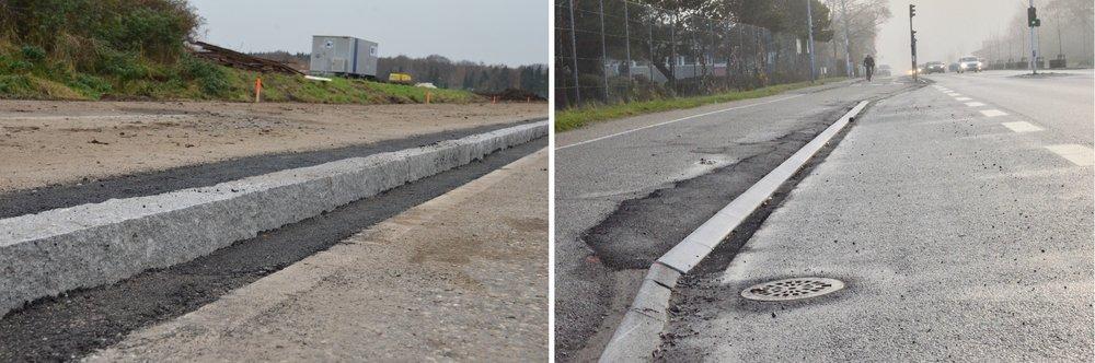 På kongevejens vestside udføres der nye høje granitkanstene, mens på østsiden af vejen lapper man blot de gamle, hvide, skrå betonkantstene. Det er en ussel løsning. Foto:AOB