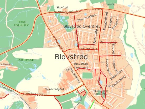 Her er kommunens kort, som viser hvilke veje kommunen snerydder.