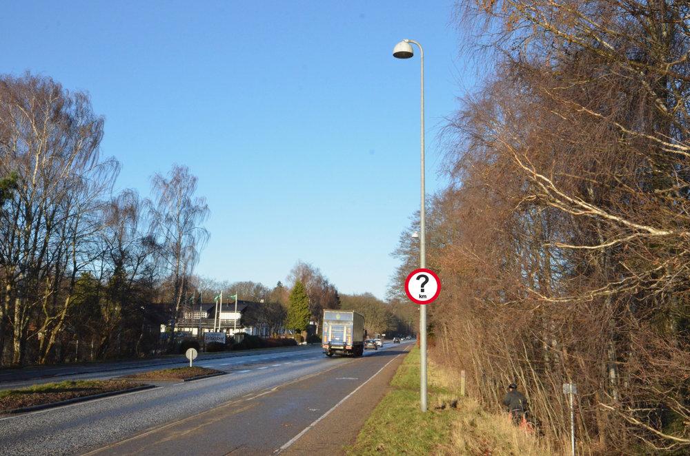 Umiddelbart efter udkørslen fra Sjælsø Allé var der mod nord på Kongevejen sat et 60 km-skilt op - det var en fejl og er nu fjernet igen! Foto: AOB