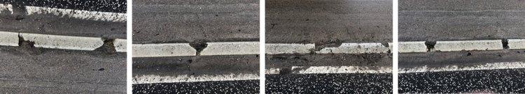 Disse skader skal vi se på i mange, mange år på den 'nyrenoverede' Kongevej - hvis ikke kommunen meget hurtig giver en ekstrabevilling,  inden man afslutter arbejdet med et nyt asfaltslidlag.  Fotos: AOB