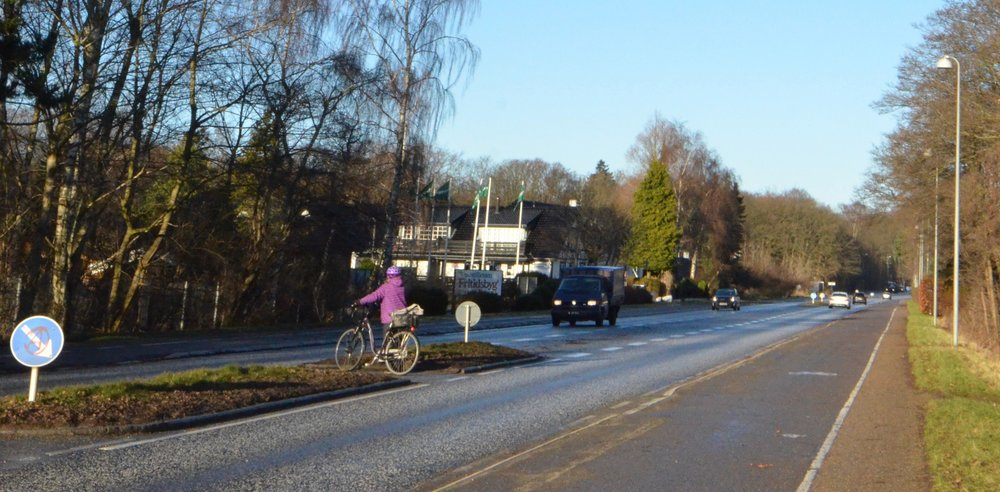 Ved overgangene (her ved Ejnars Sti) kommer der ingen fodgænger-afstribninger. Foto: AOB