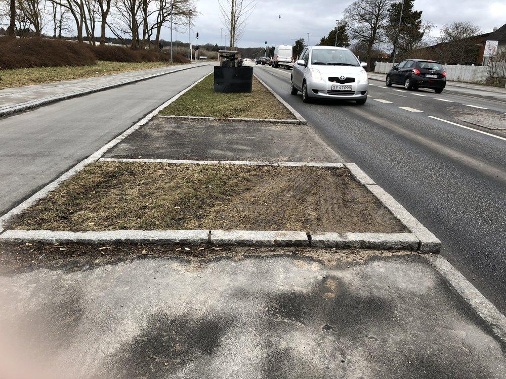 Det er i begge ender af parkeringområdet, at græsrabatten er ødelagt. Foto: AOB