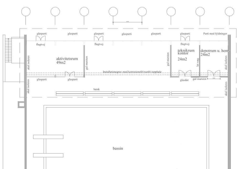 Skitseforslaget viser dryland-tilbygningen, som udføres mellem de to eksisterende læmure på sydsiden af hallen. Illustration: Arkitekt Sørensens Tegnestue, Farum