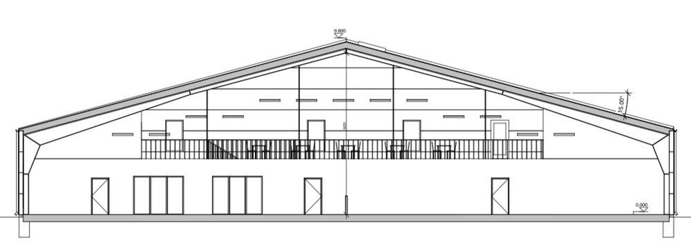 Snit i tennishallen. Illustration:Arkitektfirmaet Thomas Kullegaard A/S