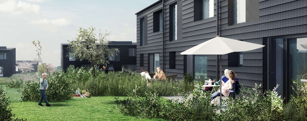 Hele den fine bebyggelsen vil stå færdigt til efteråret i år, og består af i alt 78 rækkehuse i henholdsvis ét og to planer. Illustration: Svendborg Architects
