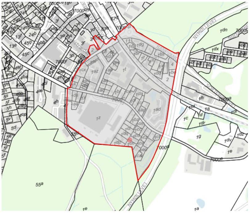 Det er området indenfor den røde linie, der flyttes fra Blovstrød til Lillerød Sogn.
