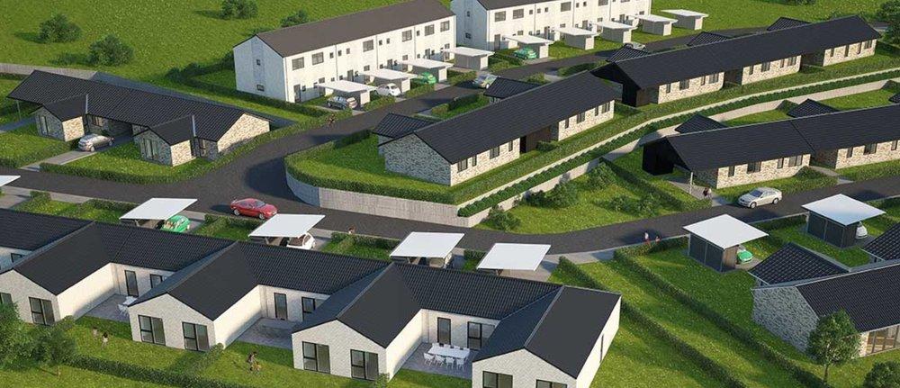 Rækkehusene ved Frugtlunden er et af de områder, hvor snart alle husene er færdige og indflytningsklare. Illustration: HusCompagniet