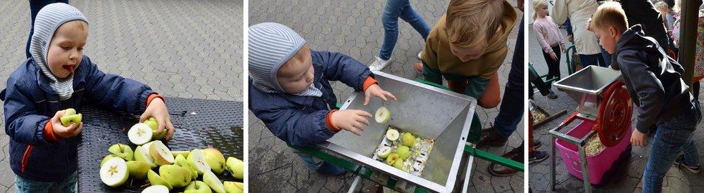 Børn i alle aldre hjalp til med æble-presningen. Resultatet blev en frisk æblemost. Foto: AOB