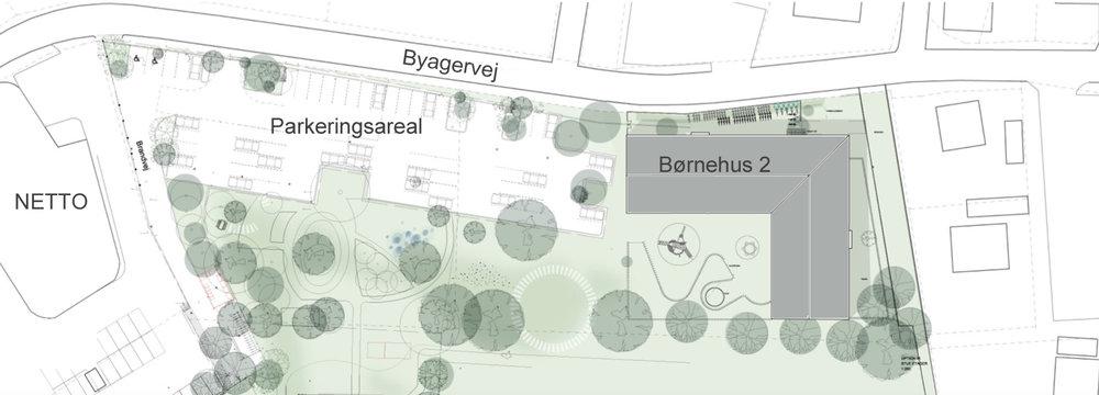 Som det fremgår af ovenstående situationsplan, er Børnehus 2 nu placeret helt mod nord-øst, og et stort parkeringsareal for 60 personbiler spænder mellem børnhuset og Netto. Illustration: Vilhelm Lauritzen Arkitekter