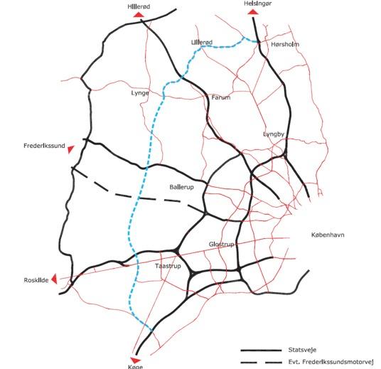 På forslaget fra 2007 viser den blå punkterede linie, at Ring 5 ville gå tæt forbi Blovstrød. Men den linieføring er død.