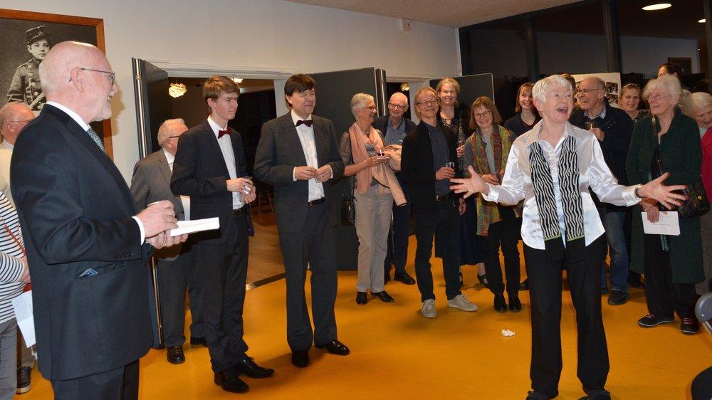 Efter koncerten berettede Tonna Nielsen om baggrunden for arrangementet. Foto: AOB