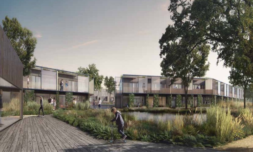 Sådan forestiller White arkitekter, at bebyggelsen vil tage sig ud, når det en gang står færdigt. Illustration: White arkitekter
