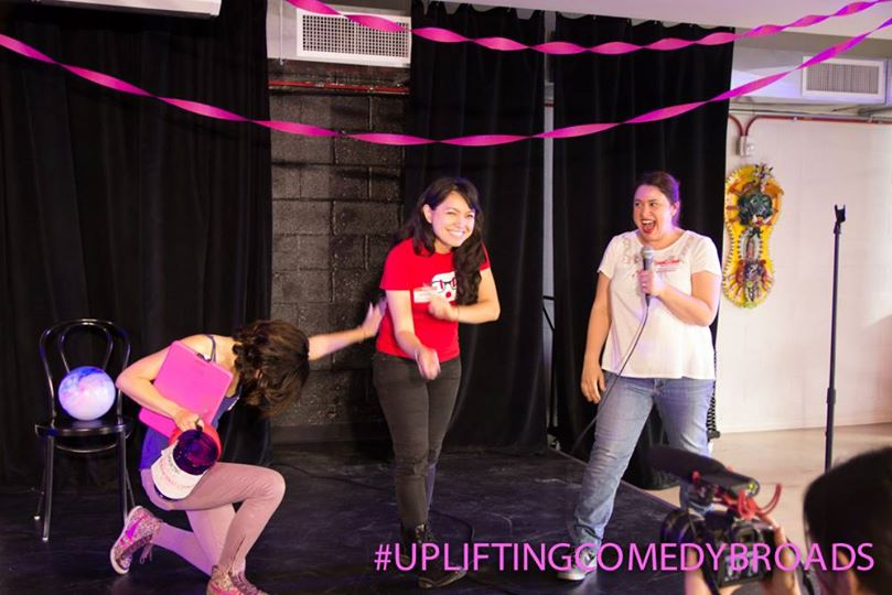 At the inaugural Uplifting Comedy Broads event (Betsy's holding the mic)