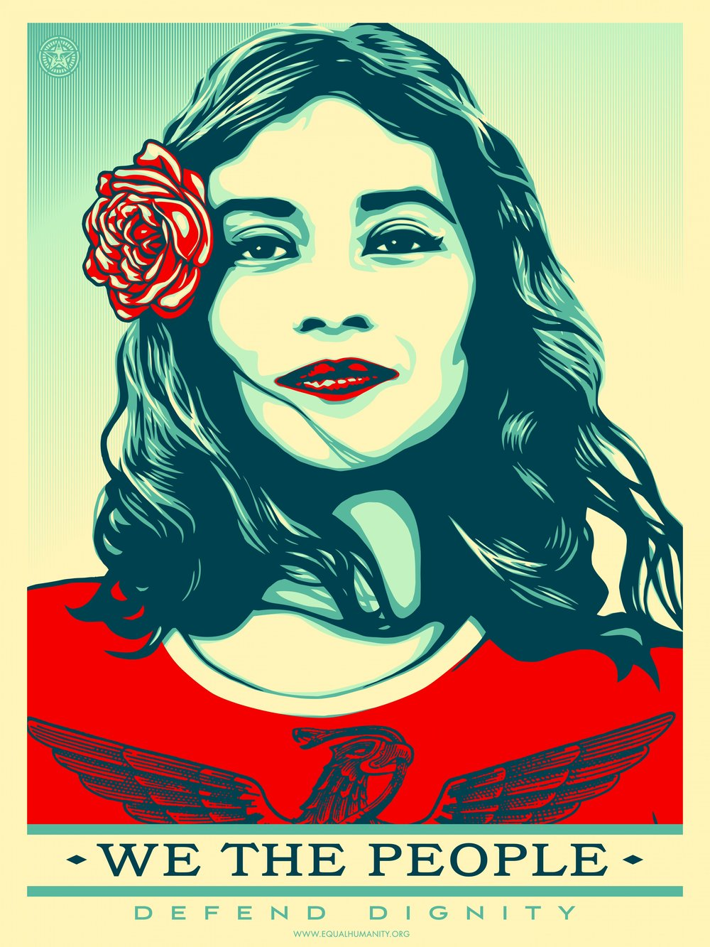 Protest art by Shepard Fairey, available for download from the Amplifier Foundation