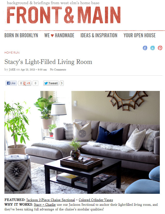 West Elm Front & Main Blog  | April 2013