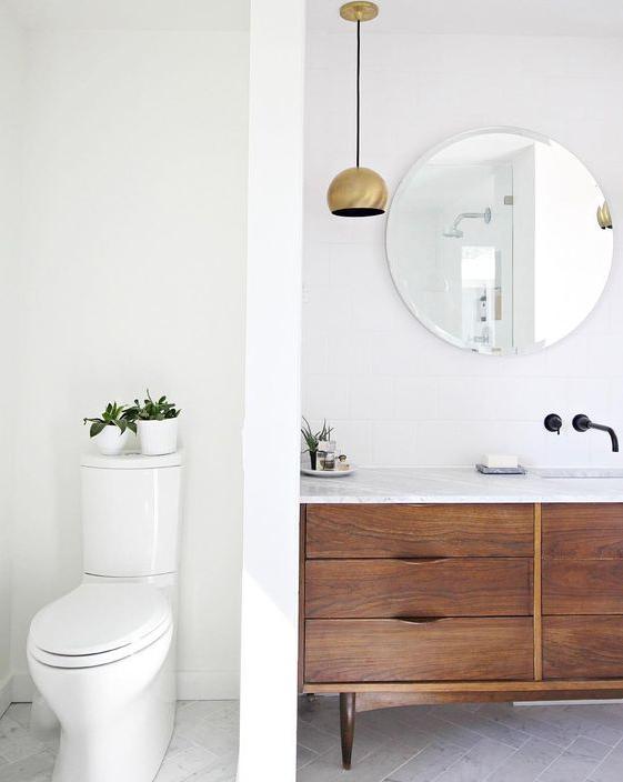 midcentury dresser bathroom vanity