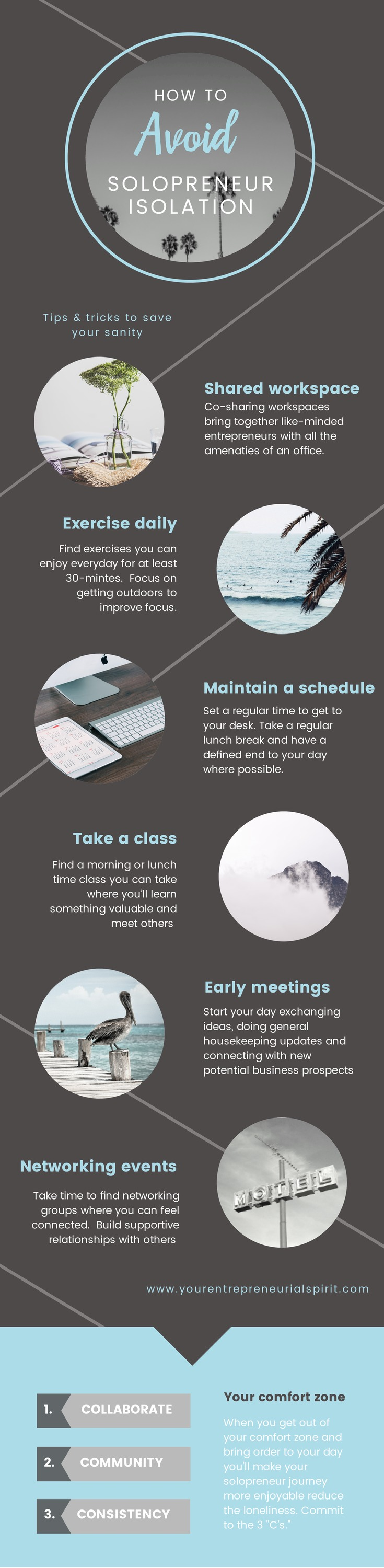 6 Tips to managing solopreneur loneliness - Inforgraphic
