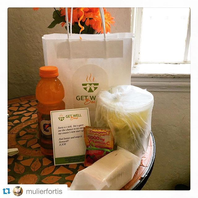 #Repost @mulierfortis ・・・ how precious is this? i wasnt feeling well today and one of my bosses had this delivered from @getwellsoup. such a great idea and the soup is AMAZING 🍲🍴💕 #getwellsoup