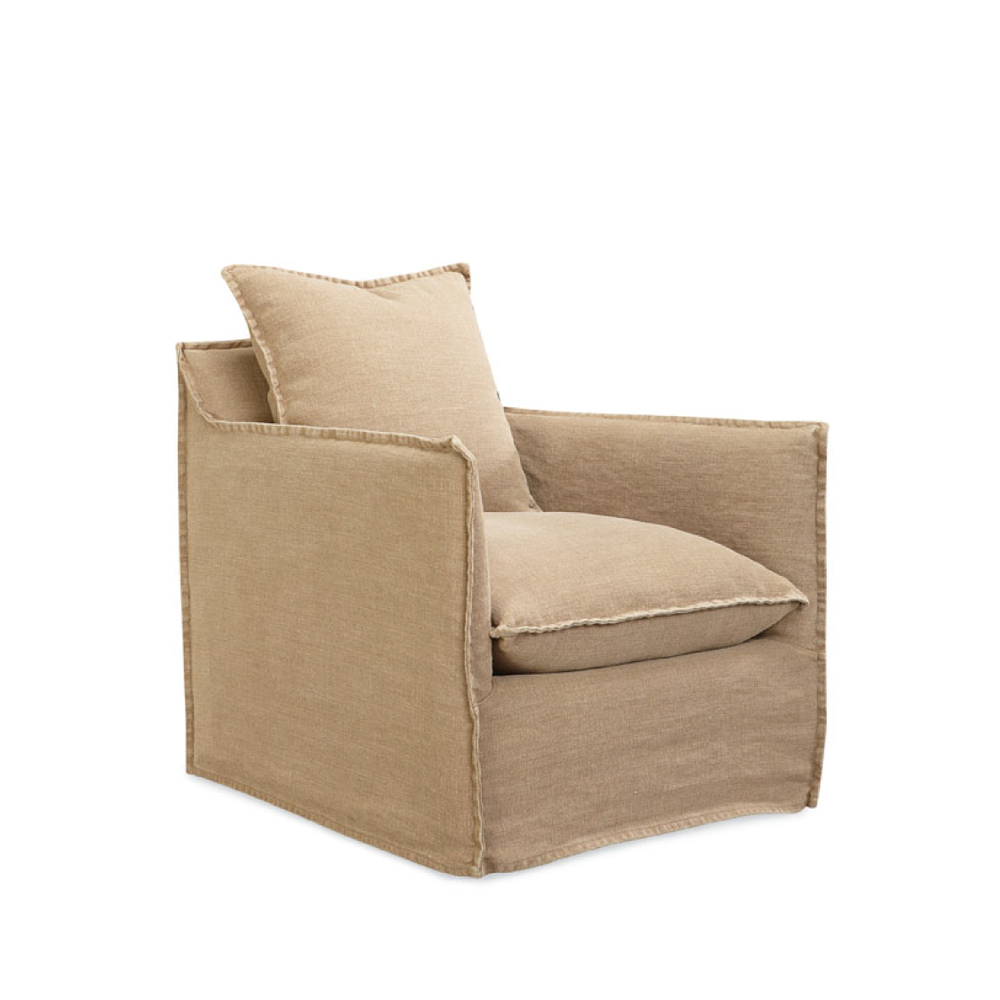 Lee Agave Slipcovered Swivel Chair