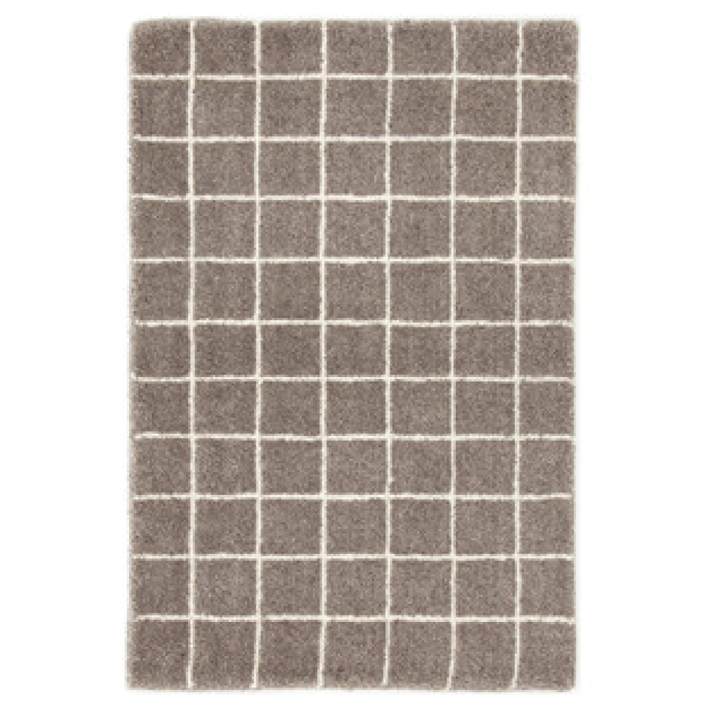 Grid Gray Wool Tufted Indoor Rug
