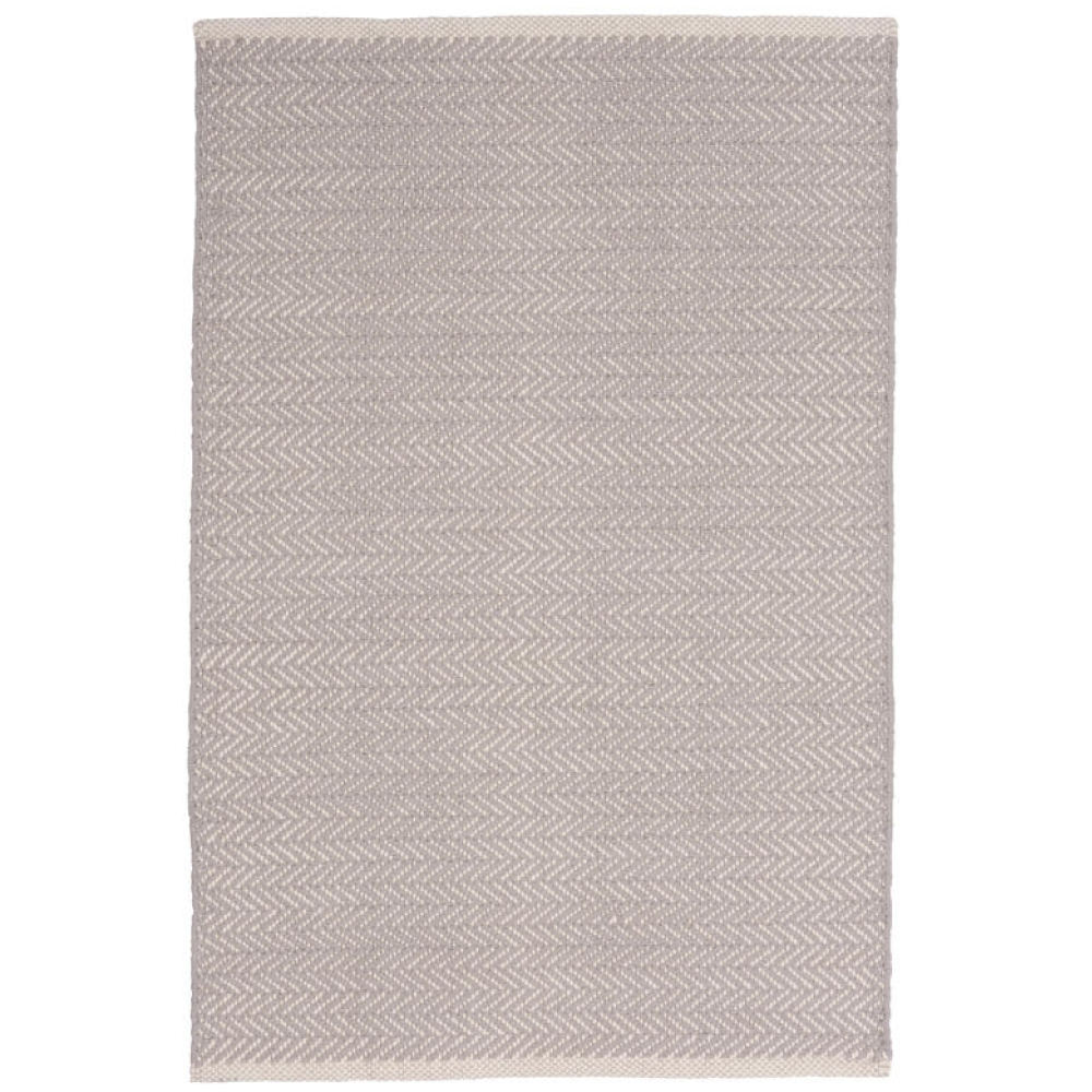 Grey Herringbone Cotton Woven Indoor Rug