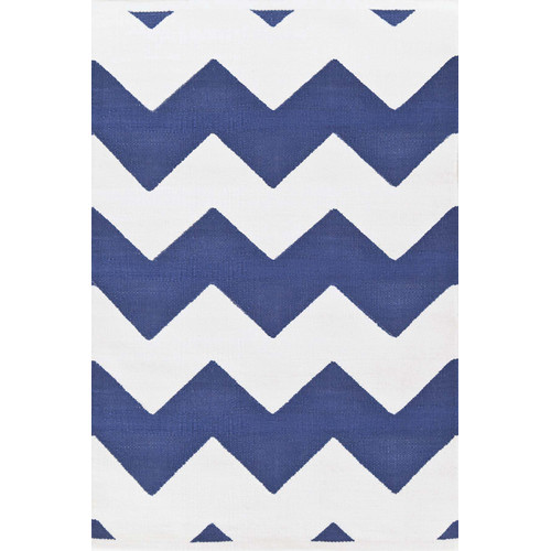 Chevron Denim Outdoor Rug