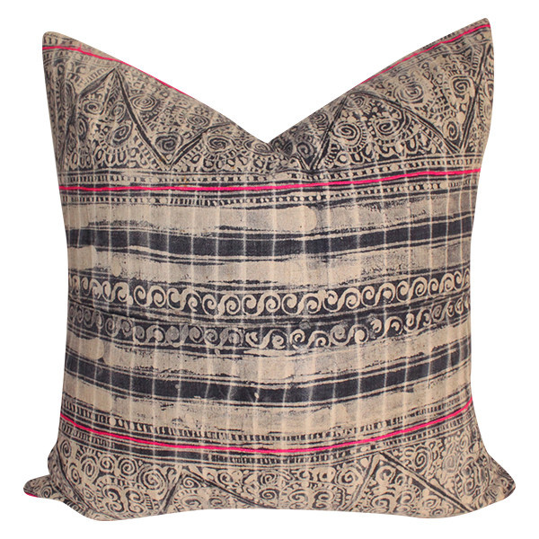 Vintage Batik Embroidered Pillow