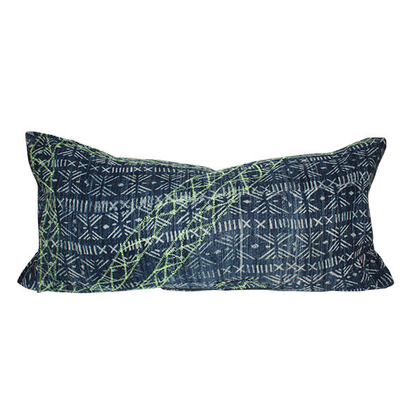 Vintage Neon Embroidered Batik Lumbar