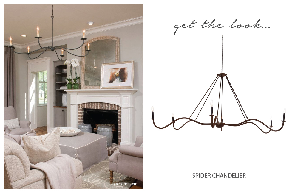 Get the look living room lighting gardenology for a more traditional room add some contrast with a simple but interesting iron chandelier the spider comes in a rust finish to stand out among the soft aloadofball Choice Image