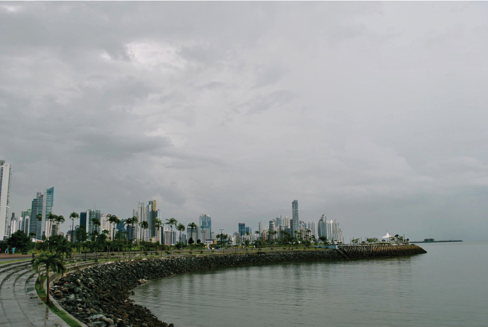 Panama City skyline view from the fish market.