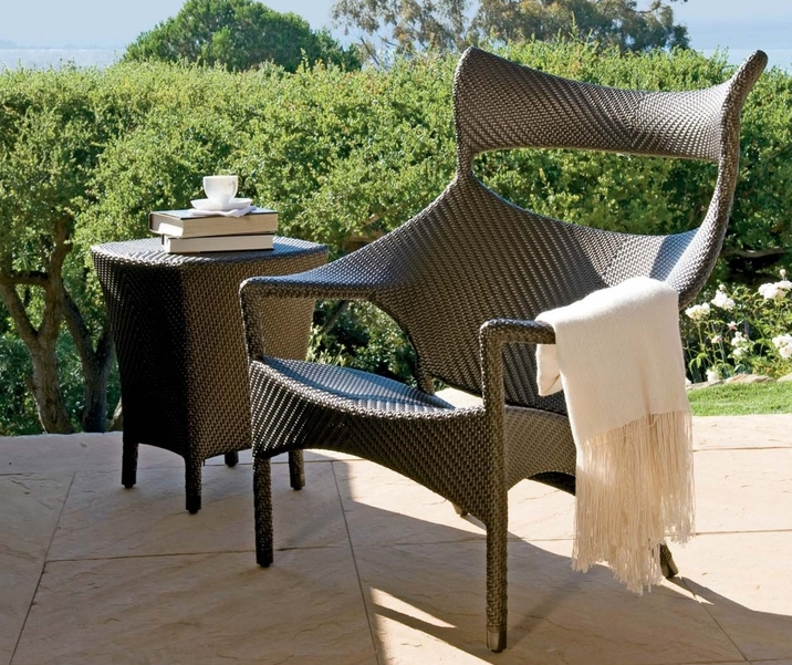 Janus et Cie Amari collection - Resin Coated rattan chair and table