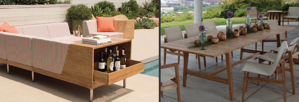 Left: a mid-century modern teak outdoor unit by Janus et Cie (Tiempo collection) Right: Summer Classics Coast collection - teak outdoor dining table and dining chairs