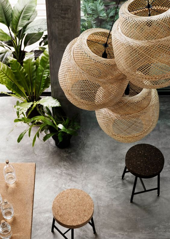 lanterns in natural textiles for a sophisticated lighting scheme-via marieclairemaison.com