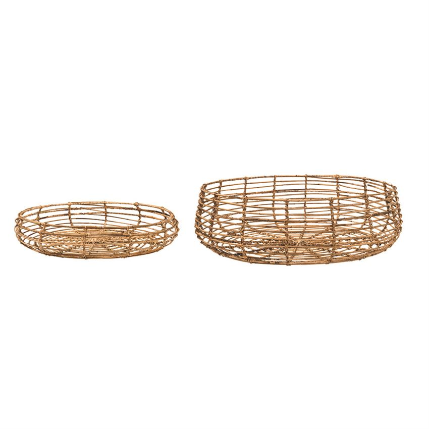 Flat Rattan Baskets Small + Large