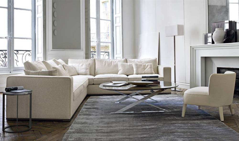 Omnia Sectional Sofa in Ivory fabric 25% off