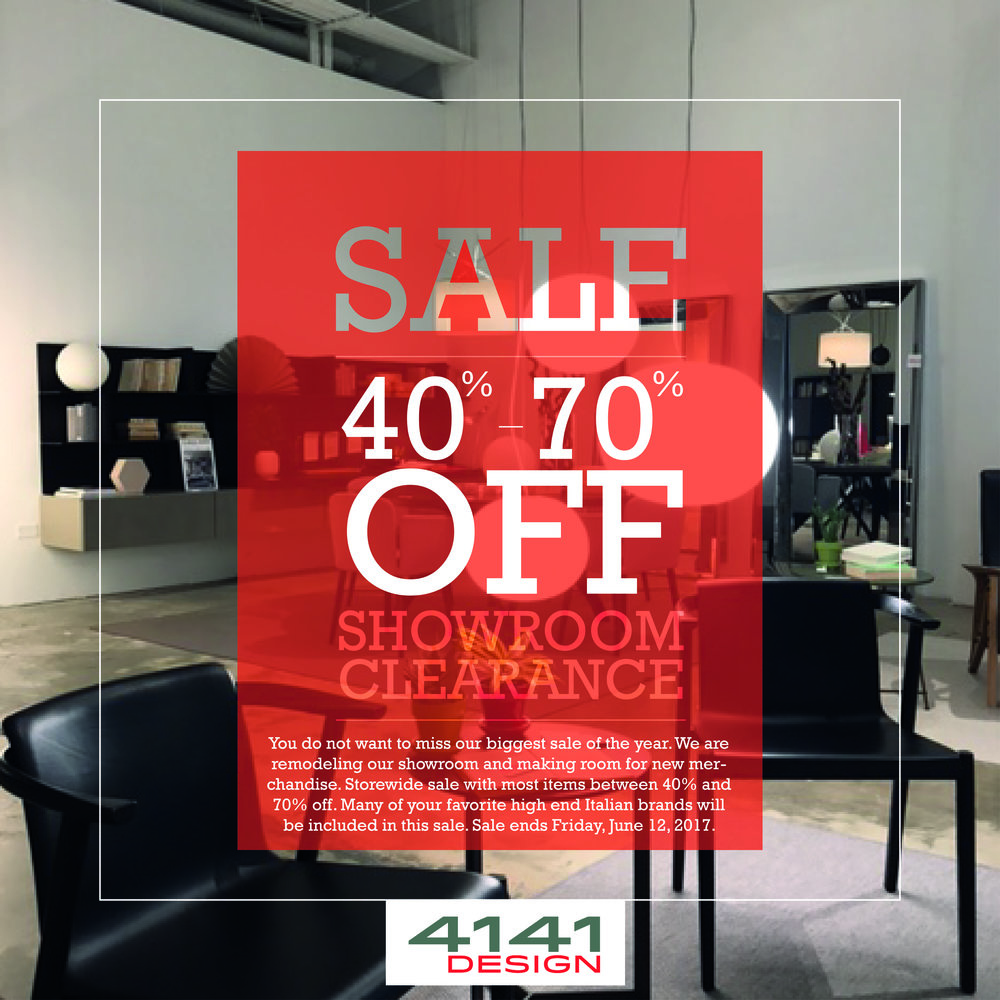 You do not want to miss our biggest sale of the year. We are remodeling our showroom and making room for new merchandise. Storewide sale with most items between 40% and 70% off. Many of your favorite high end Italian brands will be included in this sale. Sale ends Friday, June 12, 2017.