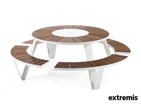 PANTAGRUEL PICNIC - The Pantagruel round picnic table seats eight people. Because the tabletop is fitted with a Lazy Susan, a central revolving tray, you don't have to ask your table-companions to pass things through any longer.