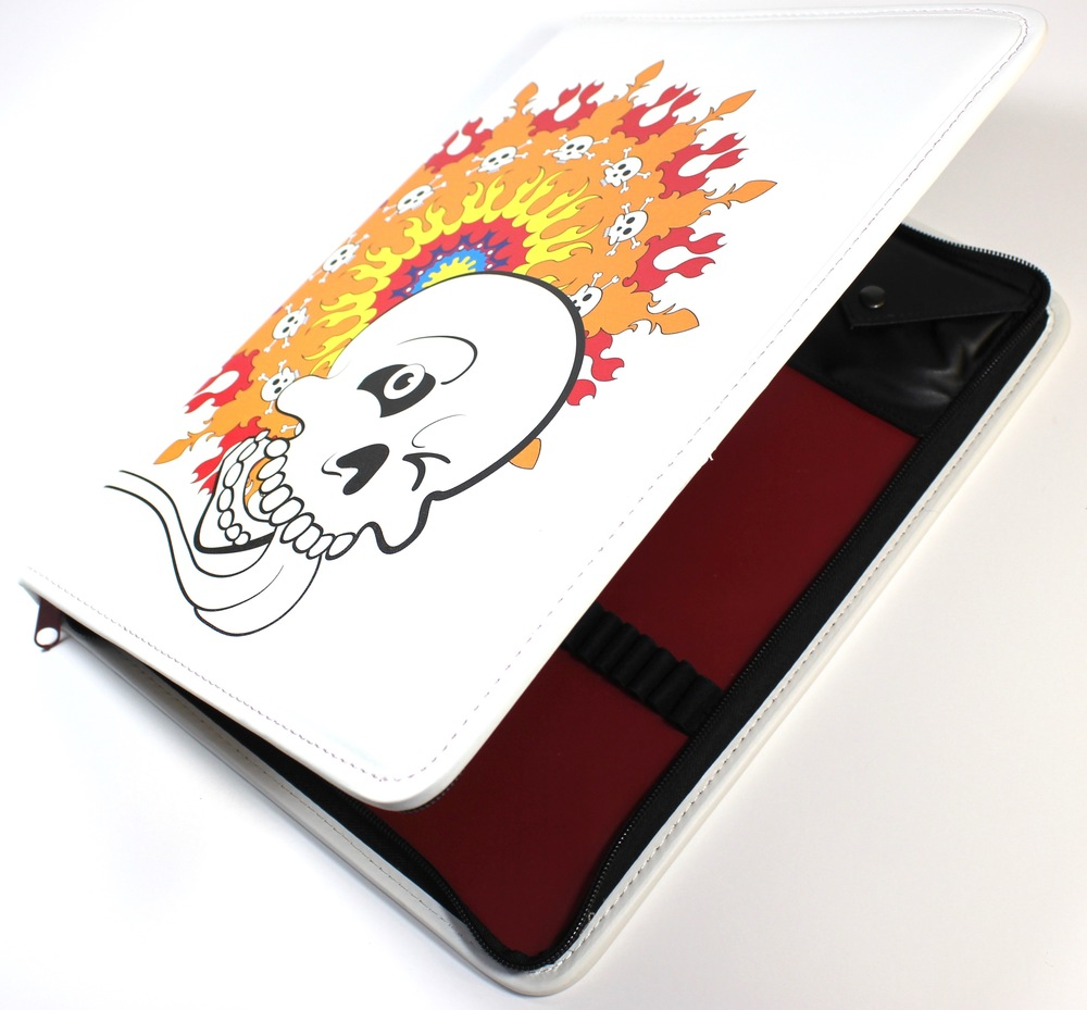 Our Skull with Lolly Colorfolio. Holds all your pens, pencils, and adult coloring books. Yet another Colorolio Original!