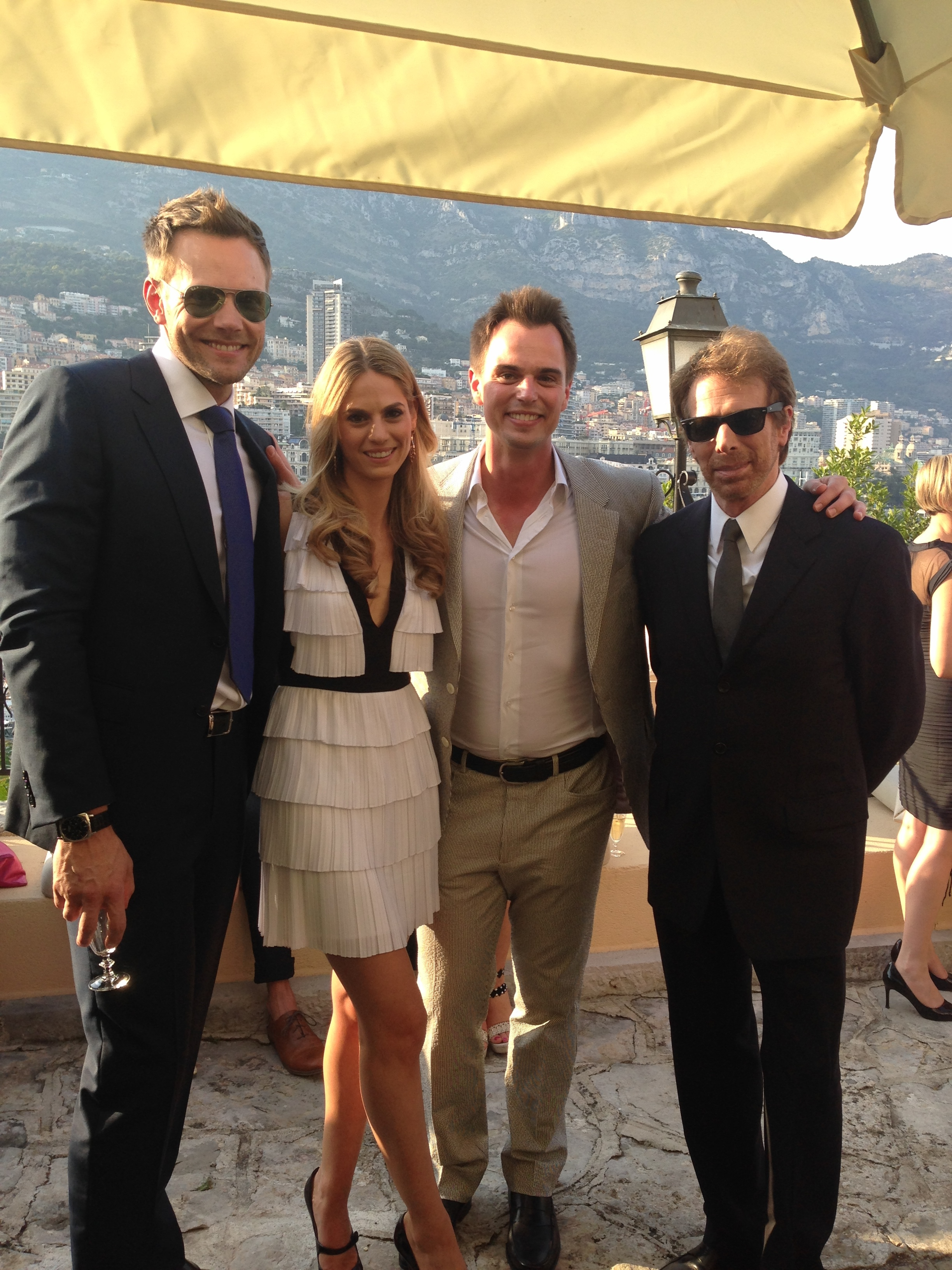 Darin and I with Joel Mchale and Jerry Bruckheimer at the Prime Ministers house.
